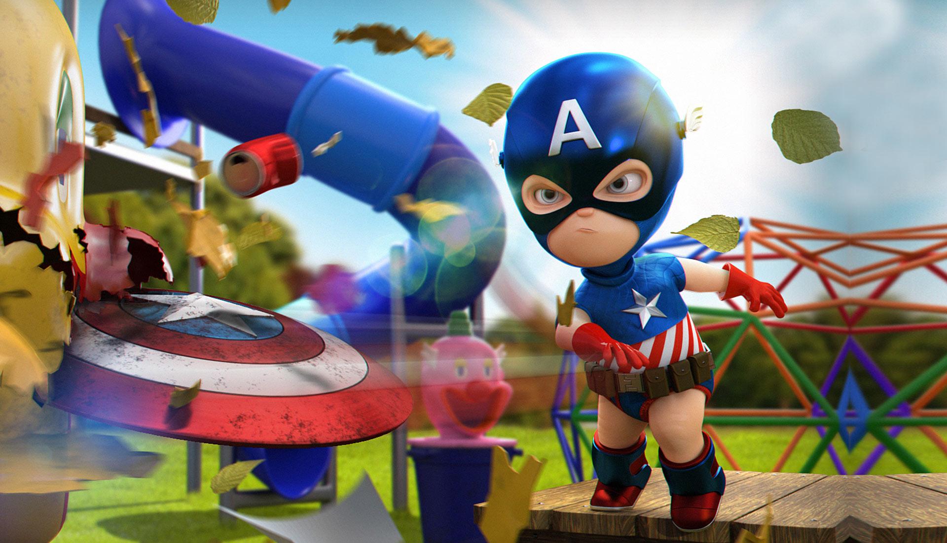 Diseño de personaje 3d capitan america