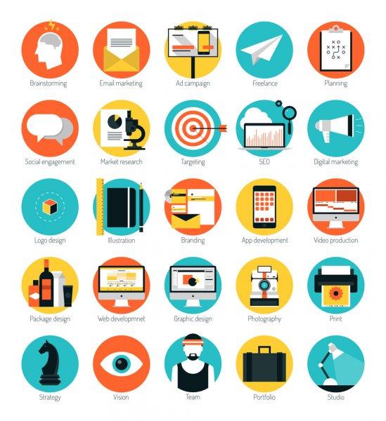 servicios de una agencia de publicidad iconos