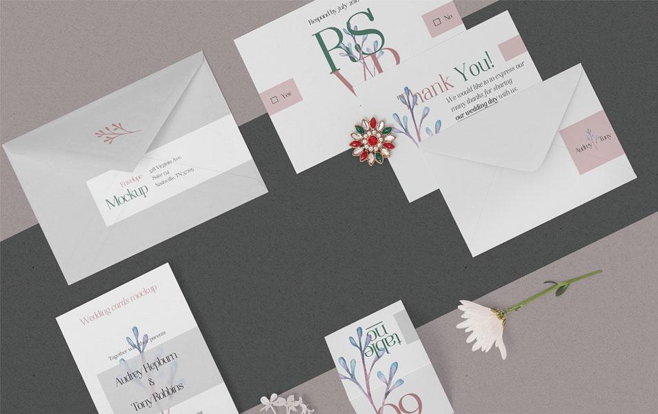 Free Elegant Wedding Stationery Mockups