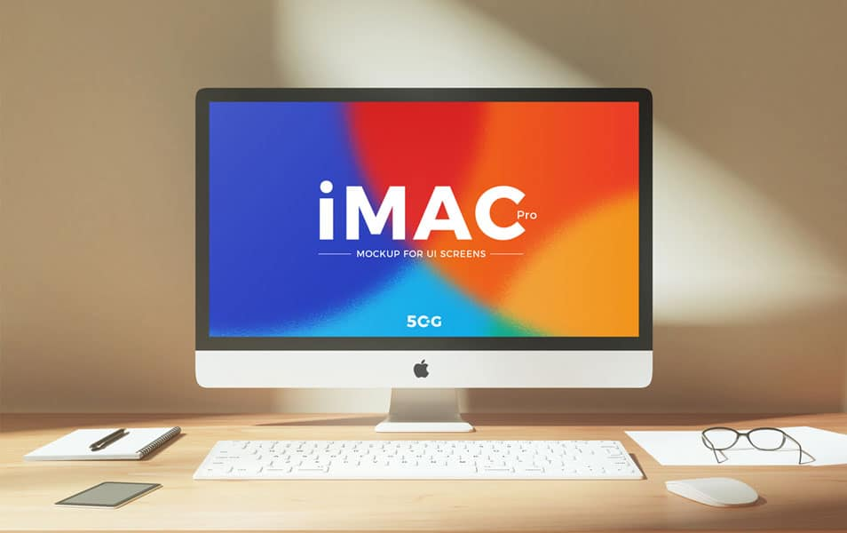 Free Workplace iMac Pro Mockup PSD For UI Screens