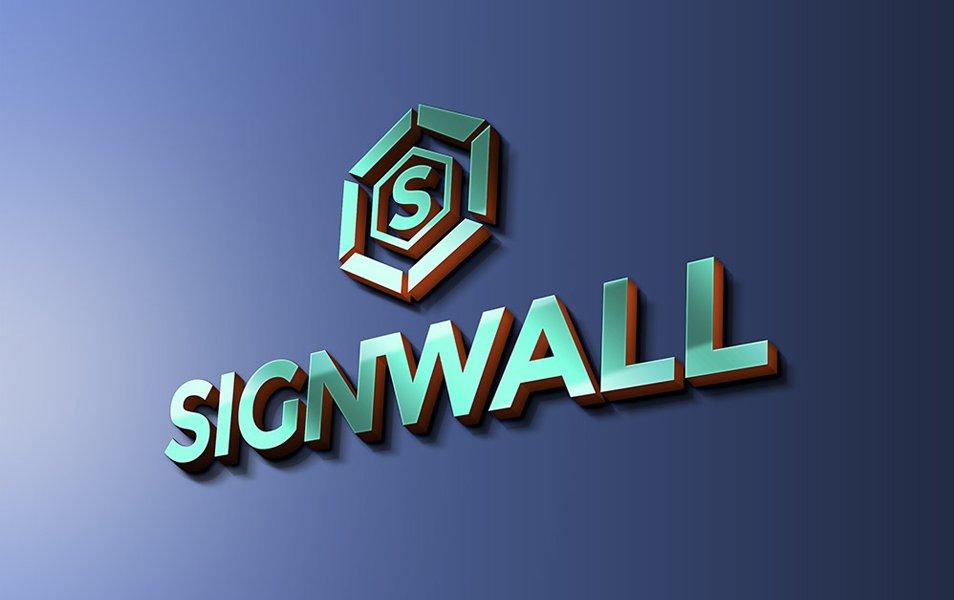Sign Wall Logo Mockup PSD
