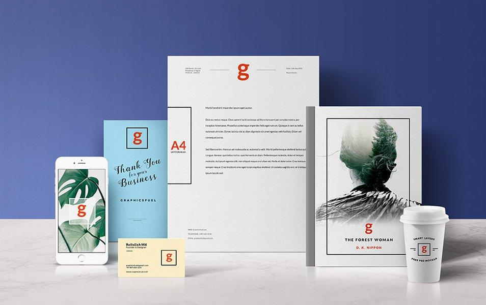 Standing Visual Branding Mockups PSD