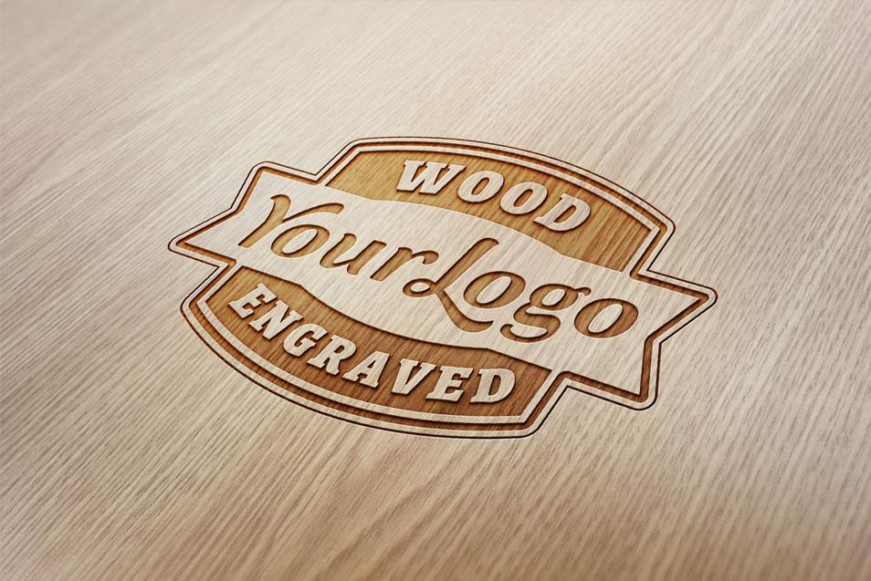 Wood Engraved Logo Mockups